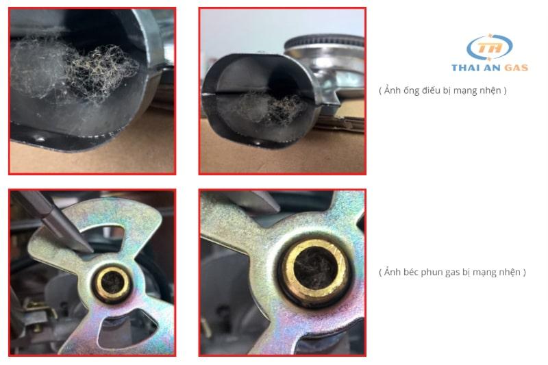 Gỡ bỏ dị vật trong ống điếu, pec để khắc phục bếp gas lửa đỏ